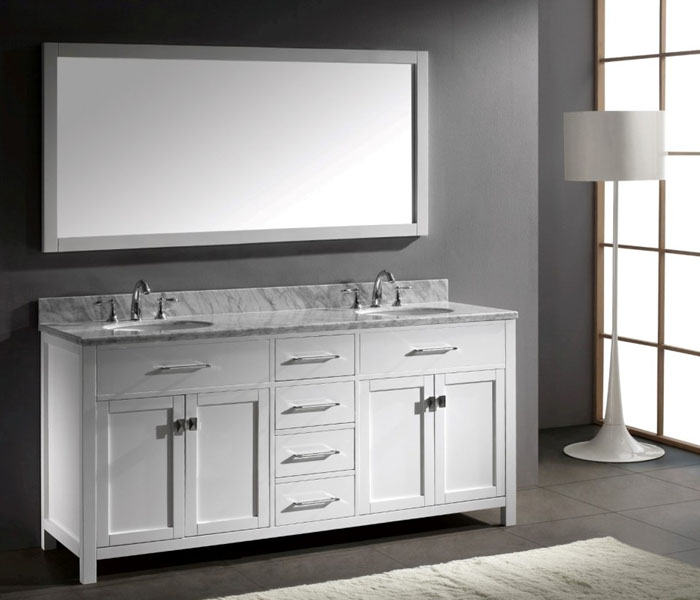 MD-2072-White Transitional Double Sink Bathroom Vanity ...